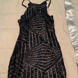 Black lf sequin high neck dress
